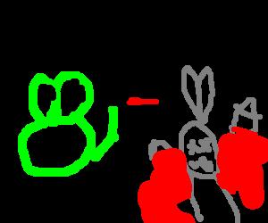 Frog mutilates rabbit