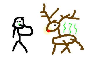 guy picks nose next to rudolph, who smells