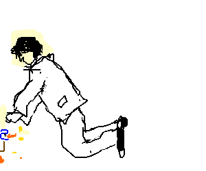 Guy in white suit feed a duck outside the panel