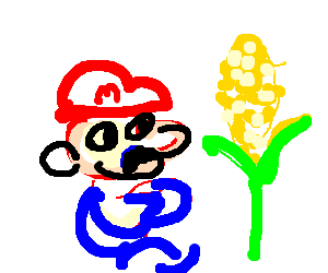 Mario waiting for corn to grow in Minecraft