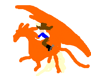Cowboy riding a dragon