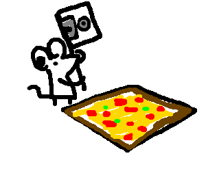 mouse holds floppy ax at square pepperoni pizza