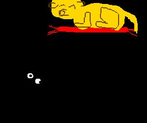 Man looks up at big yellow puppy on magic carpet
