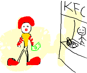 Ronald mcdonald eats Kentucky Fried Chicken