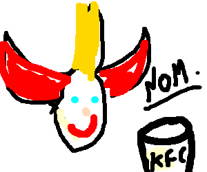 Smiling jester eating a kfc bucket
