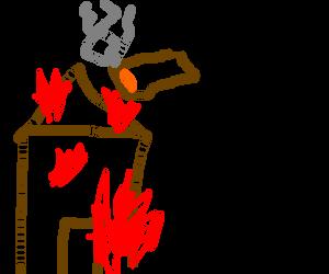 Giant man lights cigar from burning building