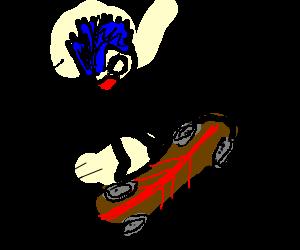 Buff guy rollerskates angerly.