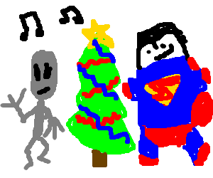 Alien and Superman dancing round an Xmas tree
