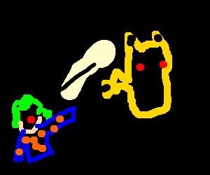 clown throws pikachu