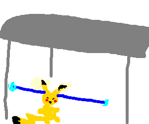 Pikachu under a roof ejectin water from its ears