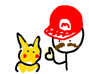 Mario giving thumbs up to Pikachu