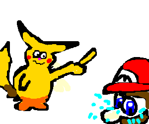 Pikachu flips off Mario, making him cry