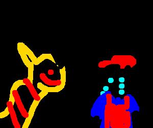 Pikacu berating crying Mario