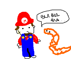 a worm talking gibberish to Super Mario