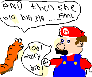 Mario listening to a talkative earthworm