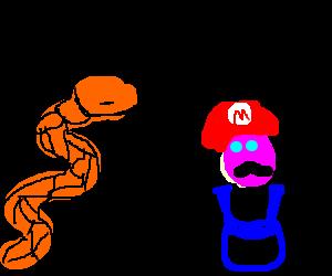 orange snake bitching to mario: 'cool story bro'