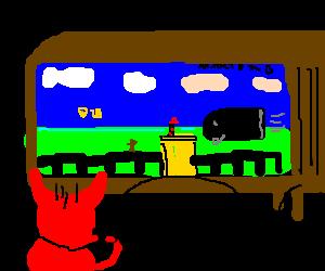 baby devil sucks at playing Mario Bros