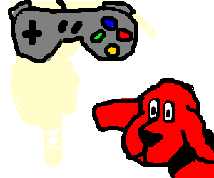 a red dog playing super nintendo