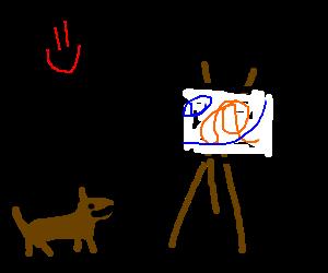 Dog appreciating art
