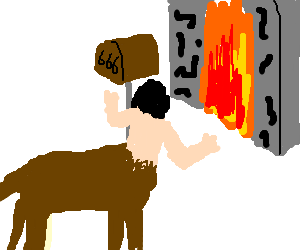 Centaur stares into a gate to hell