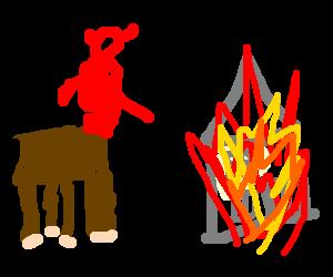 half horse, half devil watch his house burn down
