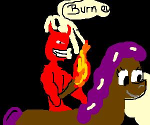 Demonic Horseman lighting a fire.