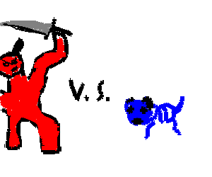 devil with a sword vs. blue coral-dog