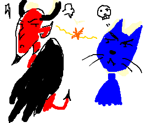 Devil vs Blue Cat