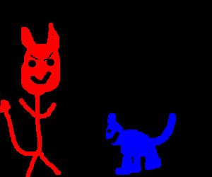 Satan meets blue kitty