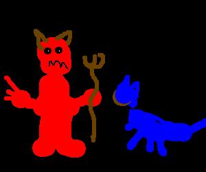 Red devil looks menacingly at happy blue cat