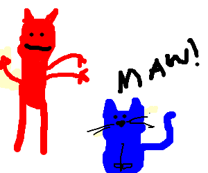 santan trying to train an evil blue cat
