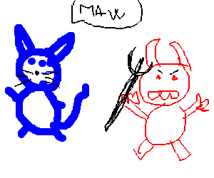 "Blue cat says ""Maw!"" to his red devil friend."