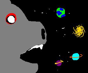 Giant zombie hog eats universe.