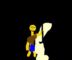 Chinese guy holding a black umbrella