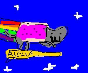 Nyan Cat goes surfing