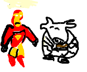 Rich Ironman looks how the Cook eats a muffin