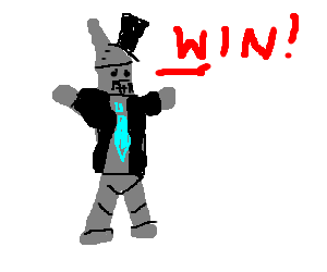 """Well-dressed tinman says """"Win!"""""""