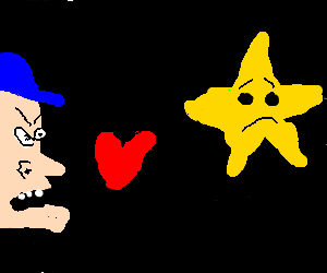 Man in blue hat declares love to star