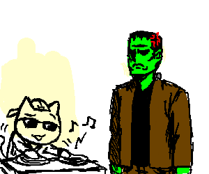 frankenstein mad at DJ Cat