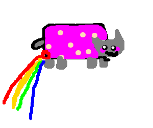 Nyan cat is pooping rainbows