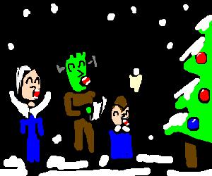 The Munsters go Christmas caroling