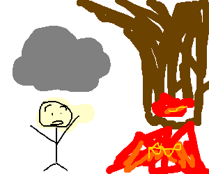 Man under cloud is afraid of upside down volcano