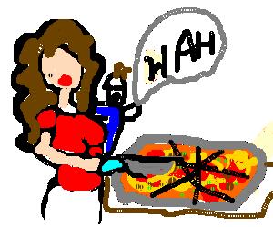 italian mother cuts pizza