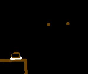No-emotion man eats something