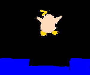 Naked Penguin stranded on iceberg