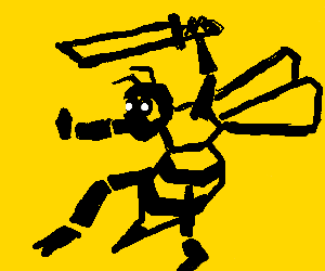 big bee in ninja suit holds a knife