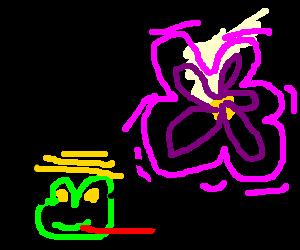 Bulldog-Bee hybrid beside glowing purple flower