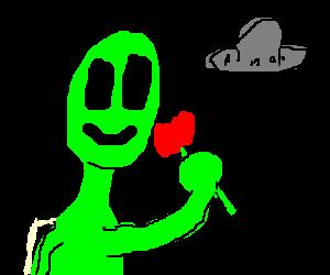 Alien likes flowers