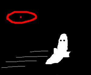Ghost runs away from staring eye