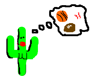 Female Cactus thinks about balls